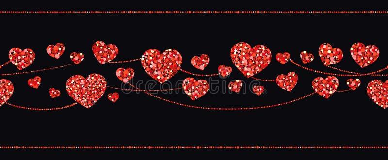 Sömlösa girlander av röda hjärtor också vektor för coreldrawillustration vektor illustrationer