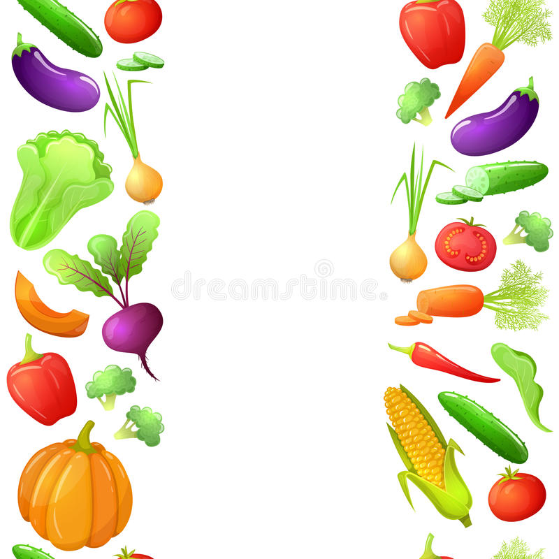 Sömlösa gränser av grönsaker stock illustrationer
