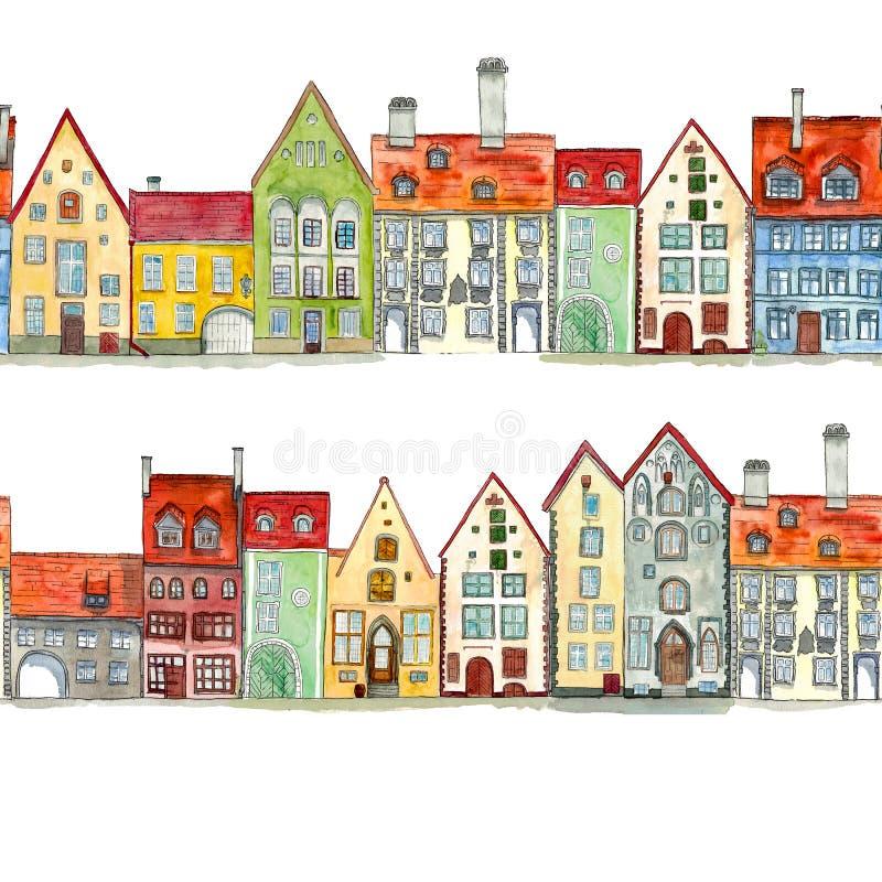 Sömlösa gränser av utdragna medeltida hus för vattenfärghand stock illustrationer
