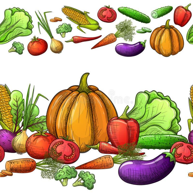 Sömlösa gränser för grönsaker stock illustrationer
