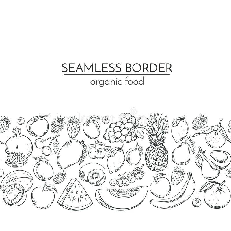 Sömlösa gränser med hand drog frukter stock illustrationer