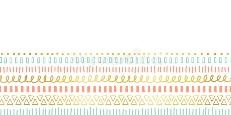 Sömlösa gränsklotterslaglängder, linjer, trianglar som upprepar vektormodellen Etniska och stam- motiv, beståndsdelar för guld- f stock illustrationer
