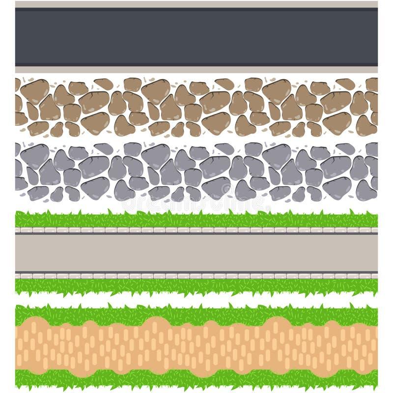 Sömlösa gränsvägar och spår Tileable bana för vektor stock illustrationer