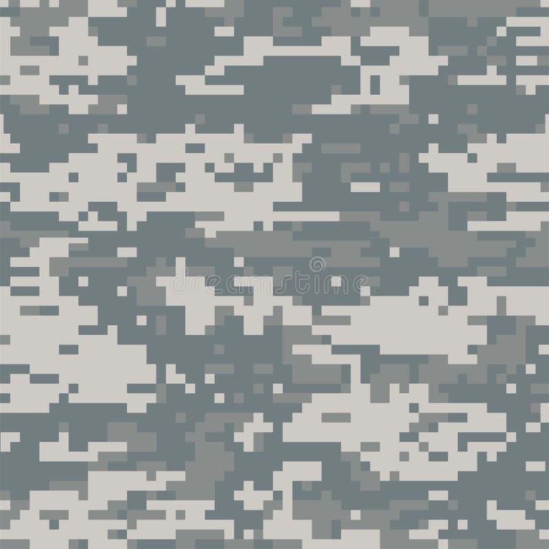 Sömlösa grå färger för abstrakt kamouflage för modell digital stock illustrationer