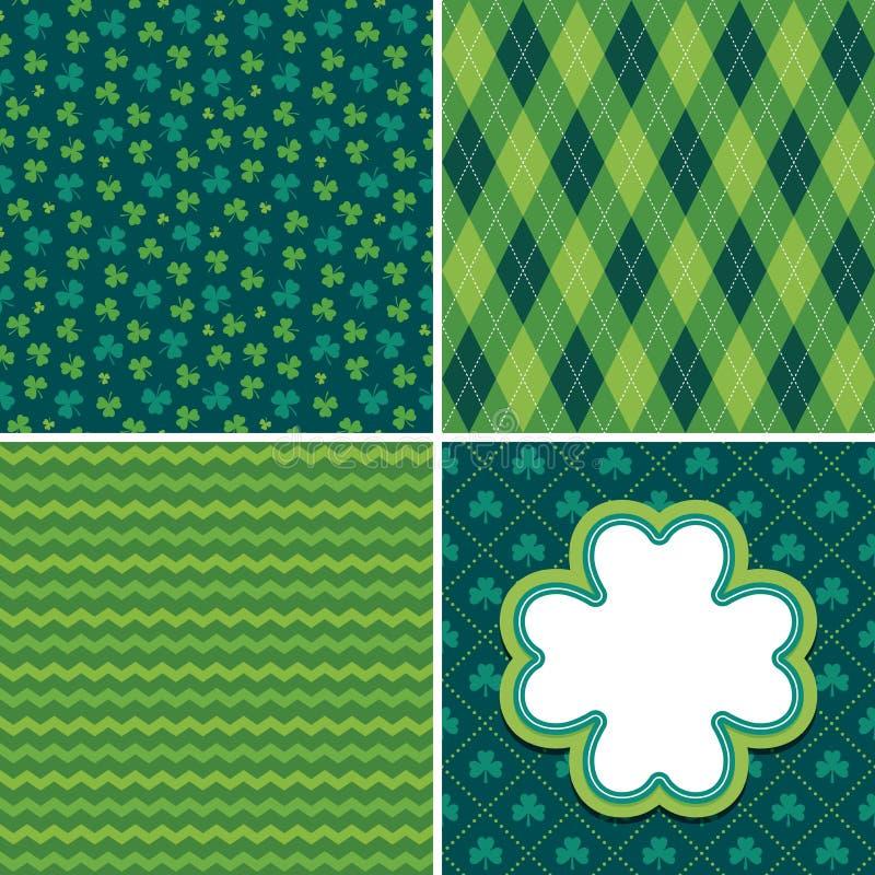 Sömlösa gröna irländska modeller och treklöverkortuppsättning 1 royaltyfri illustrationer