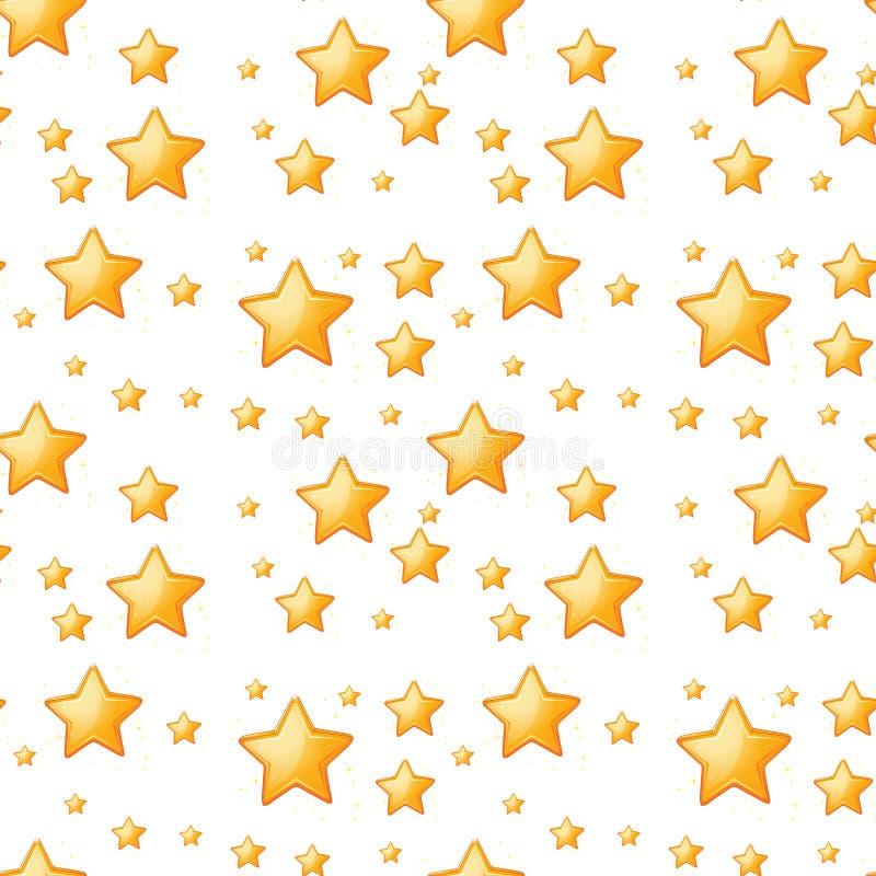 Sömlösa gula stjärnor royaltyfri illustrationer