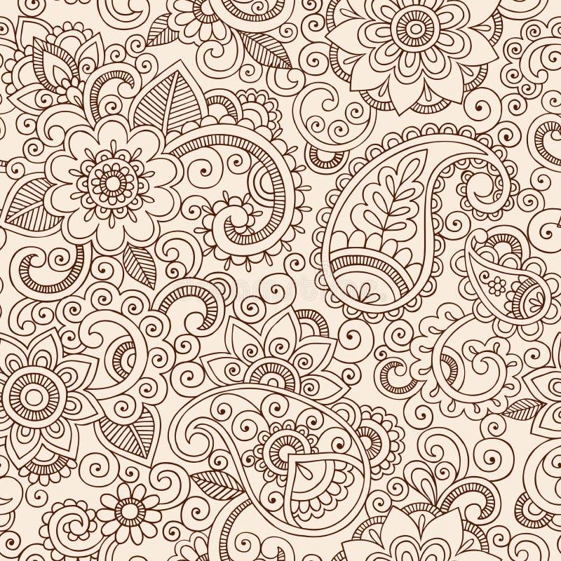 Sömlösa Henna Paisley Flowers Pattern Vector Illu royaltyfri illustrationer