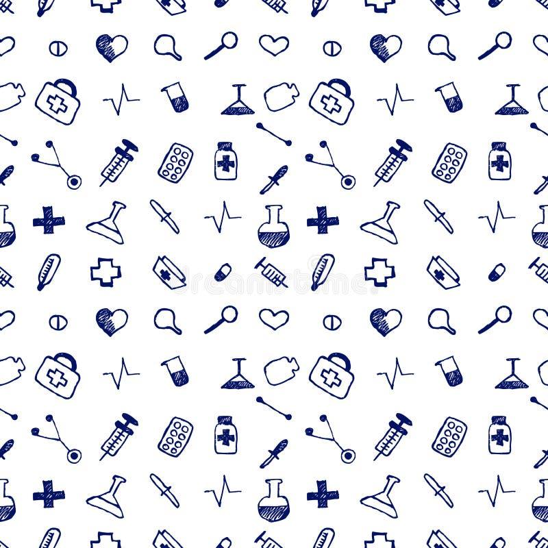 Sömlösa hjälpmedel för vektormodellläkarundersökning och preventivpillerar, vit kaotisk bakgrund med färgrika preventivpillerar,  stock illustrationer