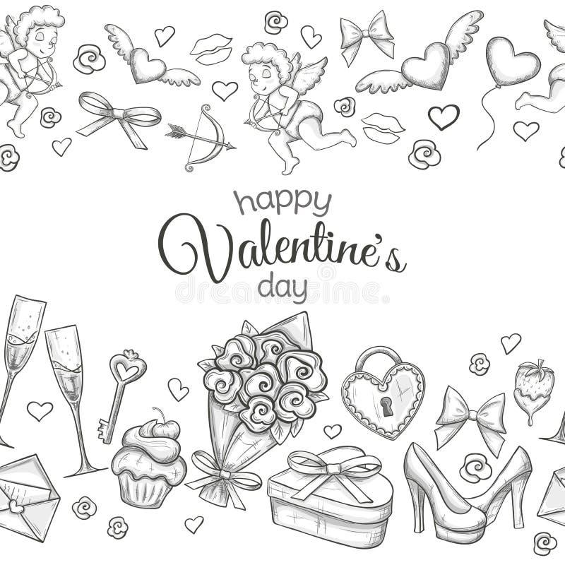 Sömlösa horisontalgränser med skissar valentindagsymboler stock illustrationer