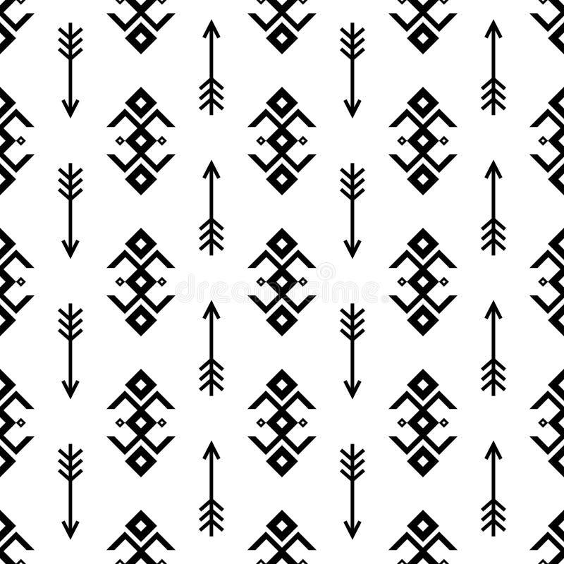 Sömlösa indiska modellvektorpilar och bakgrund för geometriska prydnader för USA indiantyp svartvit planlägger retro vin royaltyfri illustrationer