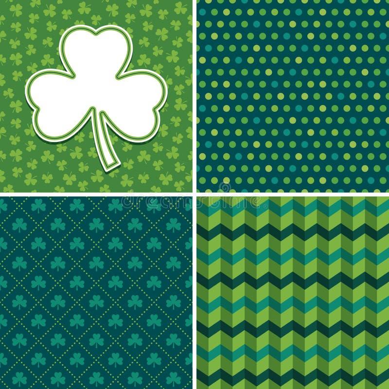 Sömlösa irländska gröna bakgrunder och treklöverkortuppsättning 3 royaltyfri illustrationer