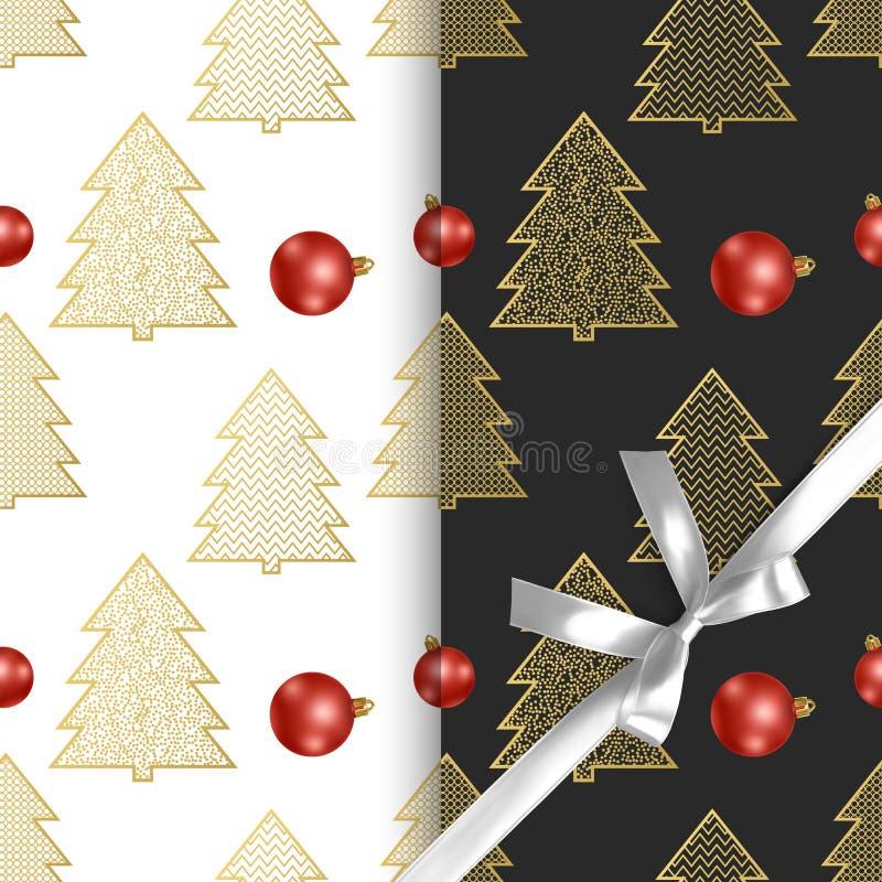 Sömlösa julmodeller med julträd och julbollar, två olika modeller med svartvit bakgrund royaltyfri illustrationer