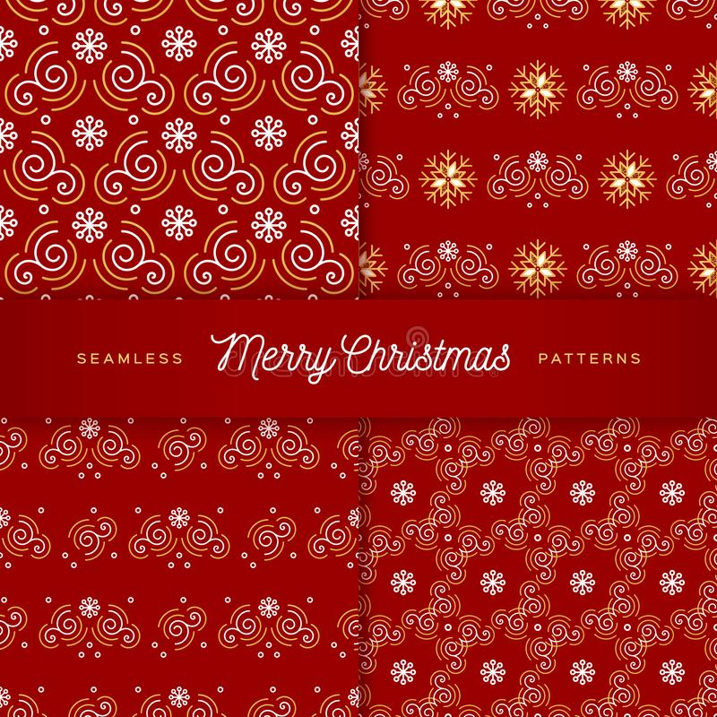 Sömlösa julmodeller Moderiktig linje guld- virvlar, krullning, snöflingor på en röd bakgrund Uppsättning av inpackning för nytt å royaltyfri illustrationer