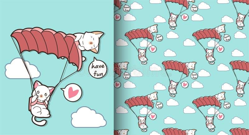 Sömlösa kawaiikatter flyger med hoppa fallskärm modellen vektor illustrationer