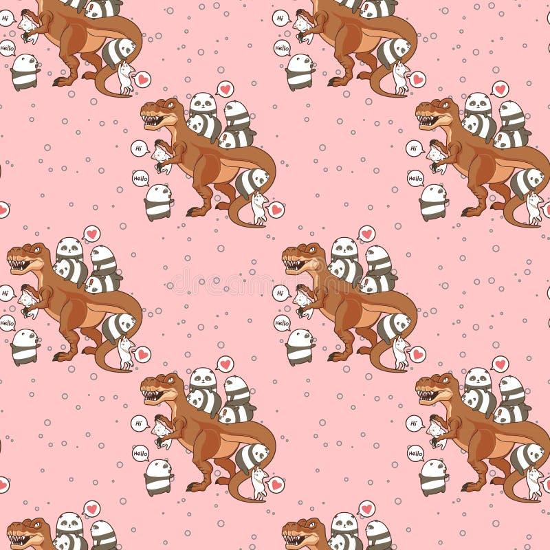Sömlösa kawaiipandor och katter med dinosauriemodellen vektor illustrationer