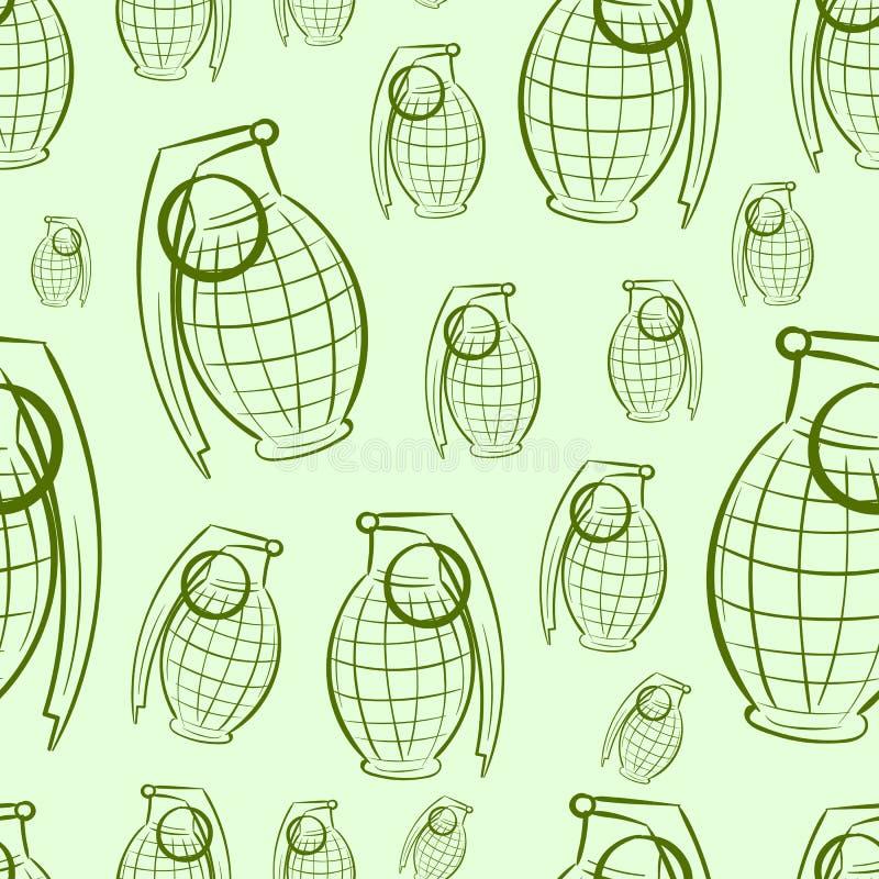 Sömlösa konturer av granater stock illustrationer