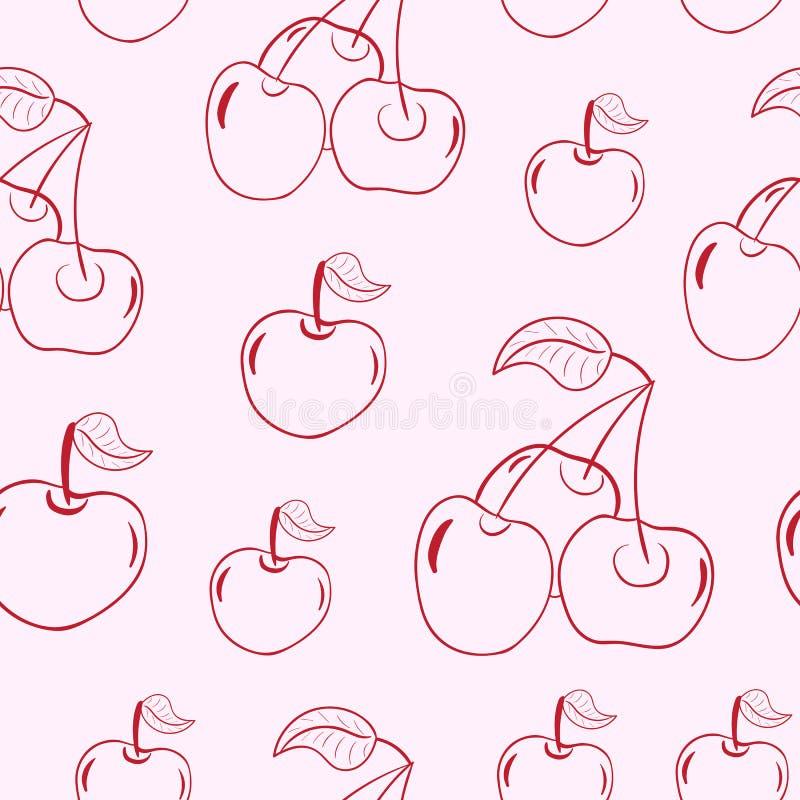 Sömlösa konturer av körsbäret stock illustrationer