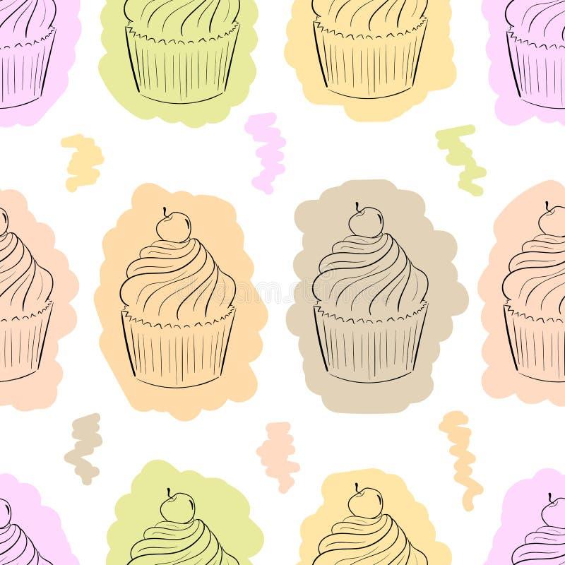 Sömlösa konturer av kakan vektor illustrationer
