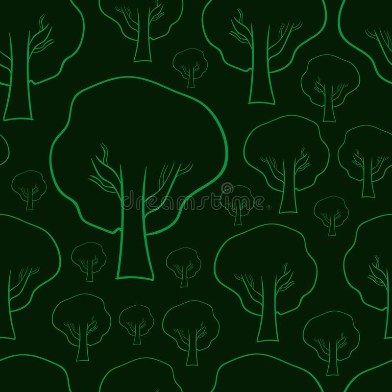 Sömlösa konturer av träd vektor illustrationer