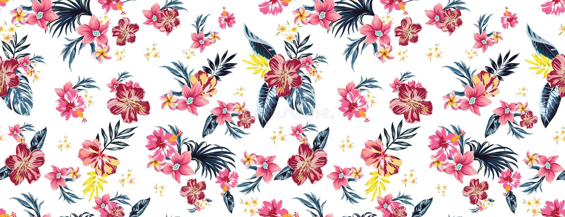 Sömlösa kulöra tropiska blommor för textil; Blom- ordning för Retro hawaiansk stil, tappningstil med svart bakgrund Seamle royaltyfri illustrationer