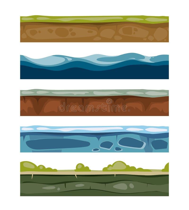 Sömlösa landskapbeståndsdelar jordning is, vatten, gräs ytbehandlar för dataspelar stock illustrationer