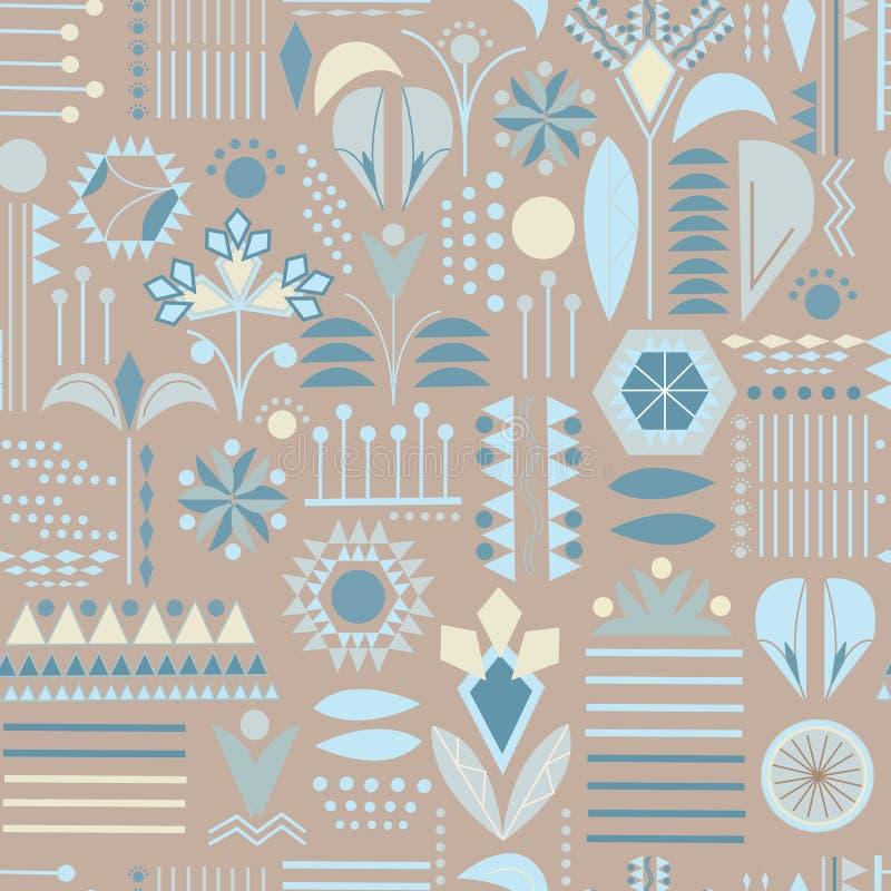 Sömlösa mönster av mönster och geometriska former Textilprydnadsföremål för tyg, plattor, tapeter och papper vektor illustrationer