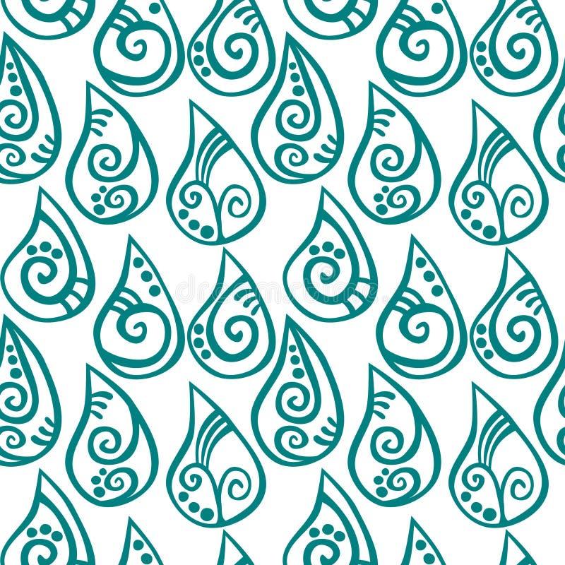 Sömlösa mönstrat regn för vatten droppar royaltyfri illustrationer