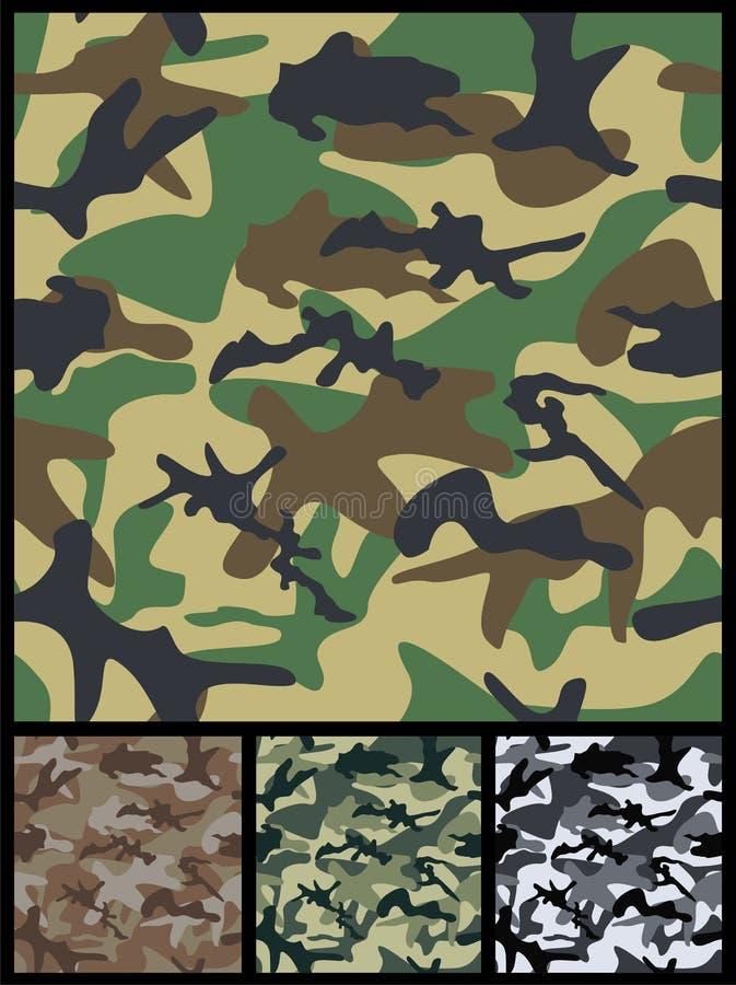 Sömlösa militära kamouflagemodeller vektor illustrationer