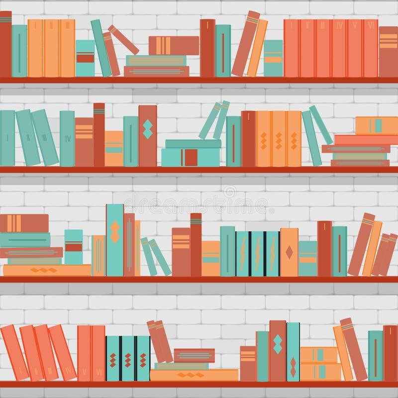 Sömlösa modellbokhyllor, böcker på bakgrunden för tegelstenvägg royaltyfri illustrationer