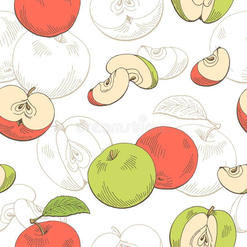 Sömlösa modellen Apple skissar den grafiska röda för grön färg illustrationen stock illustrationer