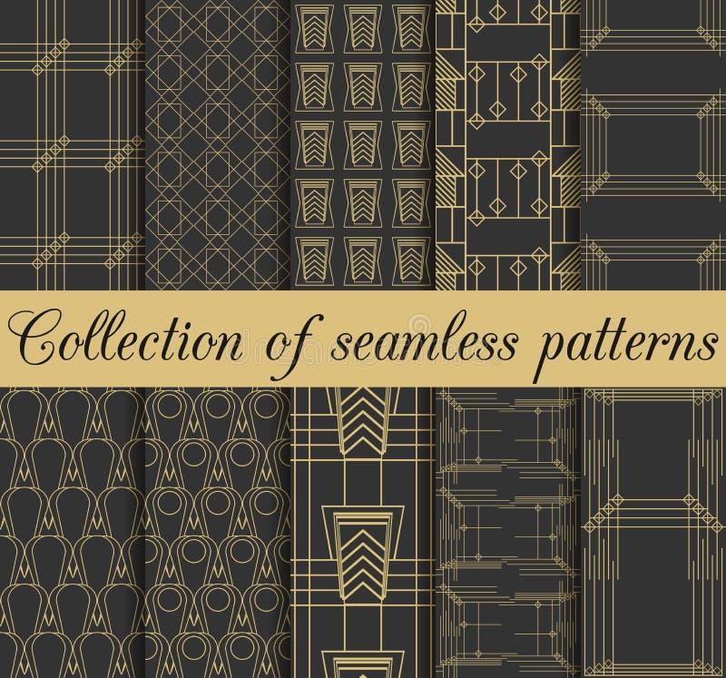 Sömlösa modeller för art déco Uppsättning av tio geometriska bakgrunder Stil20-tal, 30-tal stock illustrationer