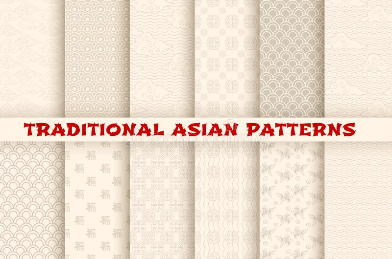 Sömlösa modeller för asiatisk kinesisk japansk vektor stock illustrationer
