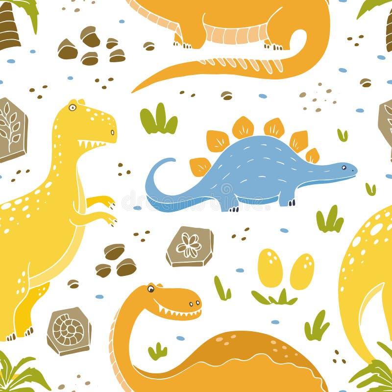 Sömlösa modeller för dinosaurier med roliga dinosaurier i tecknad filmstil vektor illustrationer
