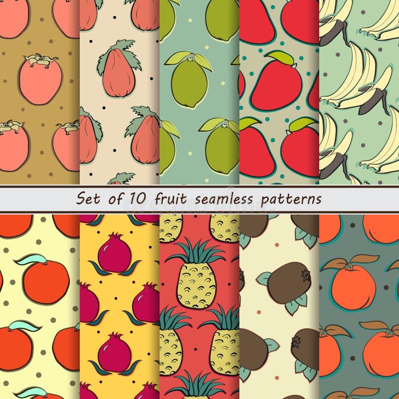 Sömlösa modeller för fastställd frukt vektor illustrationer