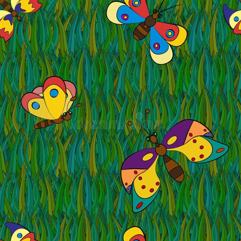 Sömlösa modeller för fjäril stock illustrationer