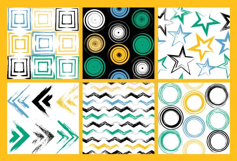 6 sömlösa modeller för gullig olik vektor Virveln cirklar, borste slår, fyrkanter, geometriska former för abstrakt begrepp Pricka royaltyfri illustrationer