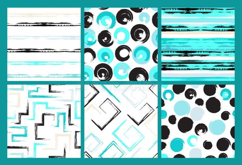 6 sömlösa modeller för gullig olik vektor Virveln cirklar, borste slår, fyrkanter, geometriska former för abstrakt begrepp Pricka vektor illustrationer