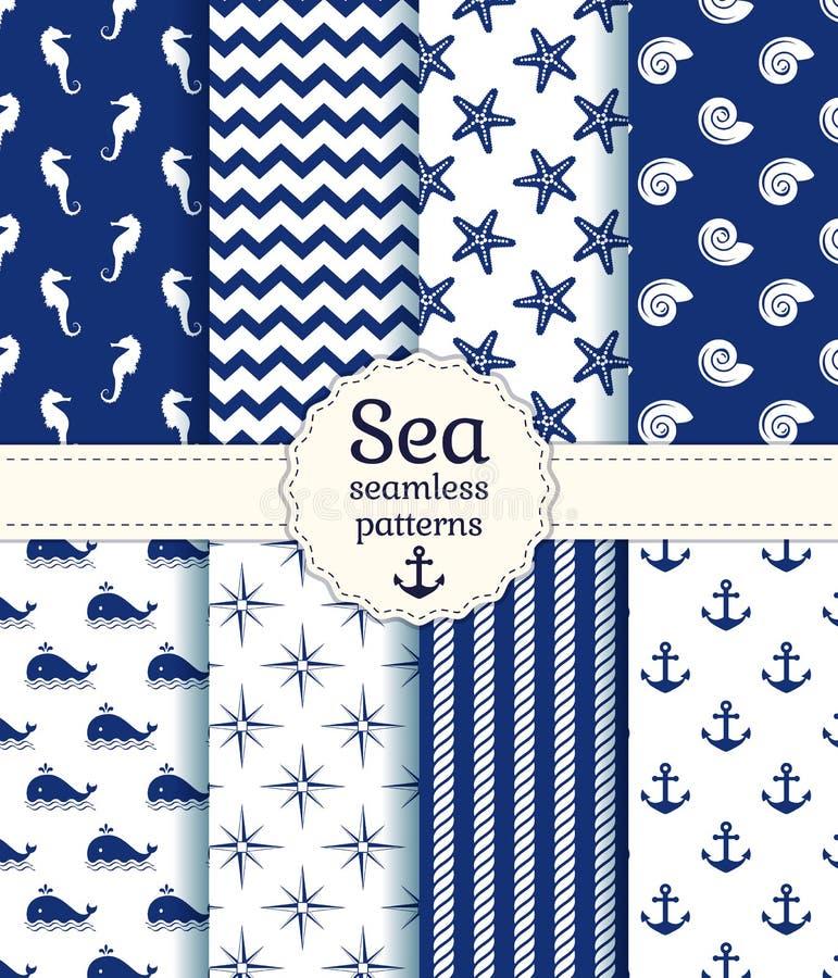 Sömlösa modeller för hav. Vektorsamling. royaltyfri illustrationer