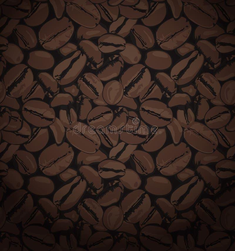 Sömlösa modeller för kaffebönor, kaffemodell med bruna slumpmässiga bönor vektor illustrationer