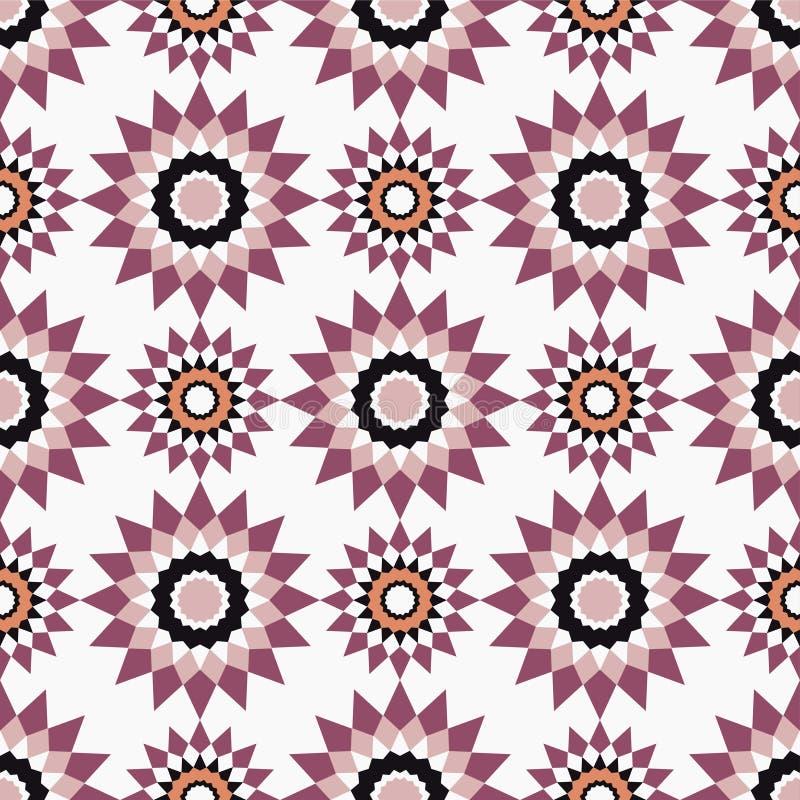 Sömlösa modeller för marockansk mosaik Retro motiv stock illustrationer