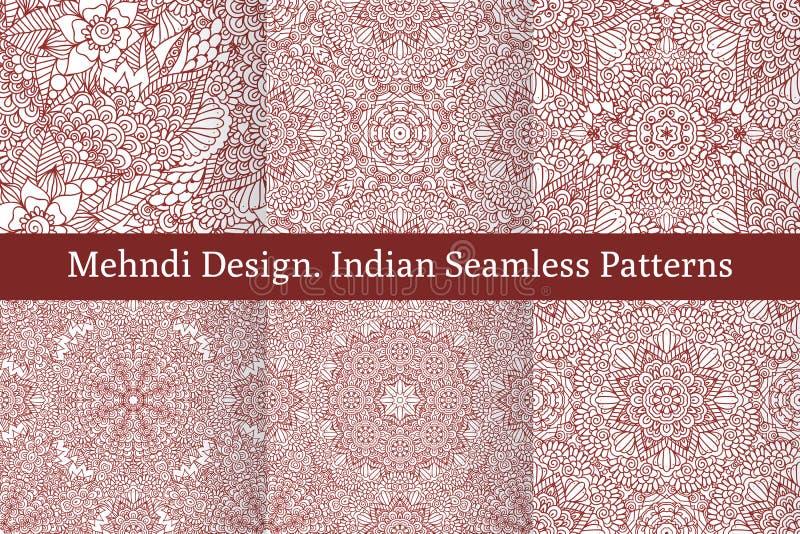 Sömlösa modeller för Mehndi hennadesign royaltyfri illustrationer