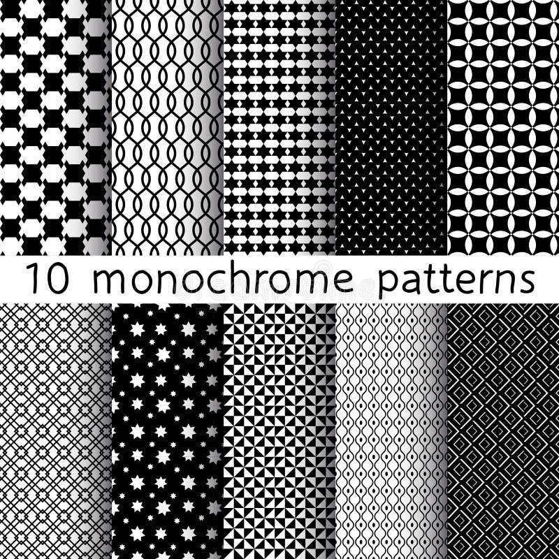 10 sömlösa modeller för monokrom olik vektor vektor illustrationer