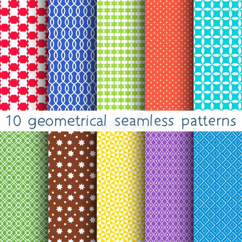 10 sömlösa modeller för olik vektor Uppsättning av nyanserade geometriska prydnader royaltyfri illustrationer