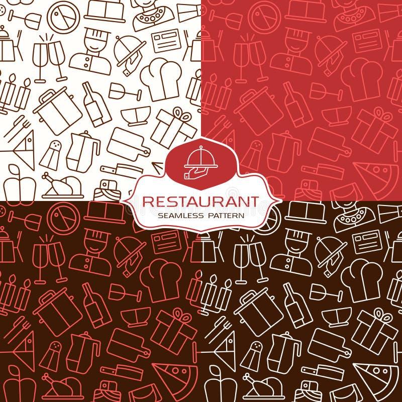Sömlösa modeller för restaurang i den tunna linjen stil stock illustrationer