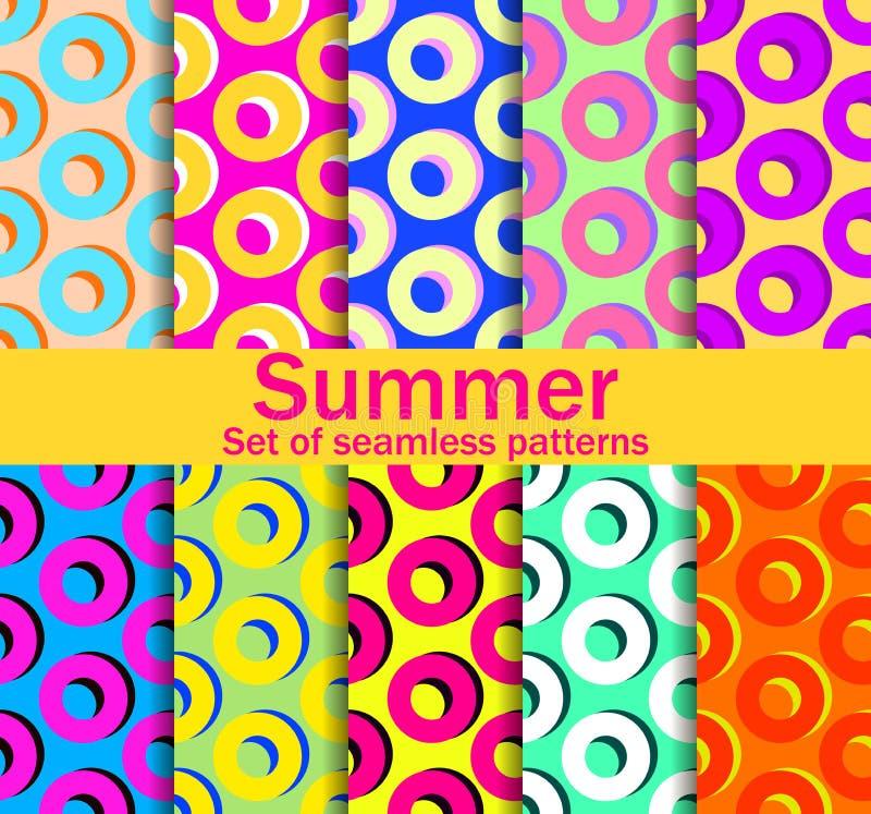 Sömlösa modeller för sommar med cirklar och ljusa färger En samling av tio bakgrunder vektor royaltyfri illustrationer