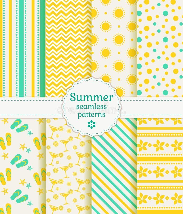 Sömlösa modeller för sommar Sömlös blom- bakgrund stock illustrationer
