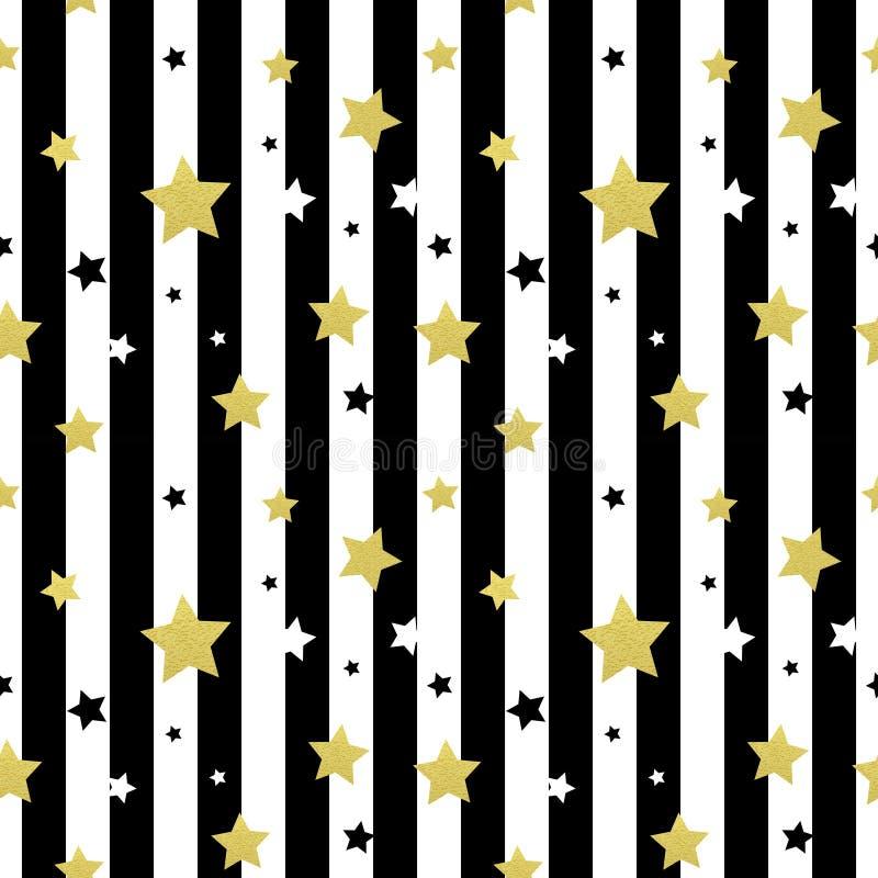 Sömlösa modeller för svart-, vit- och guldstjärnor vektor illustrationer