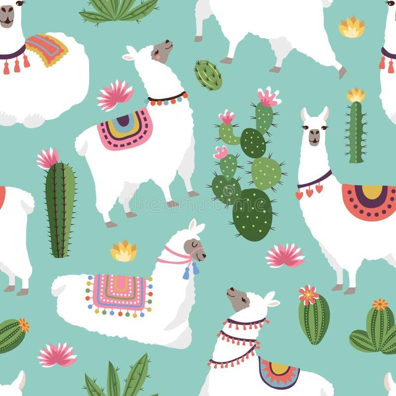 Sömlösa modeller för textiltyg med illustrationer av laman och kaktuns vektor illustrationer