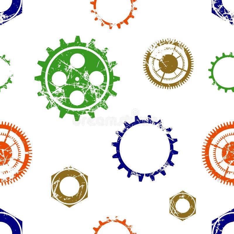 Sömlösa modeller för vektor med mekanismen av klockan Idérika geometriska färgrika grungebakgrunder med kugghjulhjulet royaltyfri illustrationer