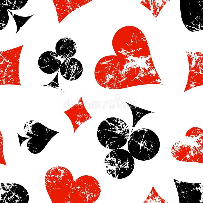 Sömlösa modeller för vektor med symboler av playingskort Idérika geometriska röda, svarta vita grungebakgrunder stock illustrationer